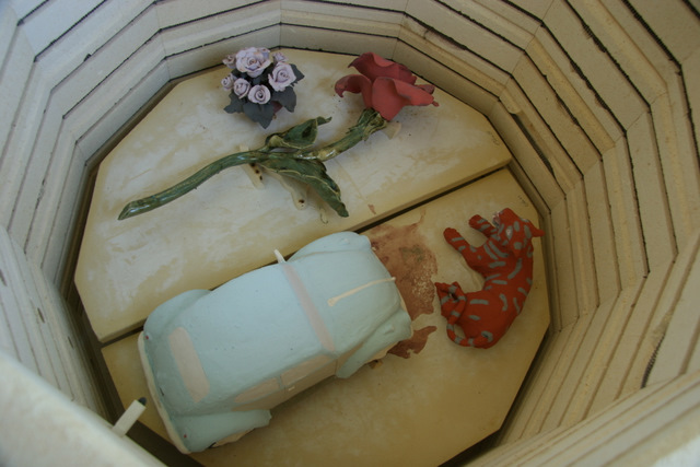 Glaze firing had to be done in my big kiln because of my long stem rose.