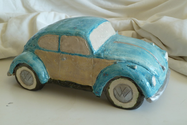 The glazed ceramic Volkswagen bug is finished!