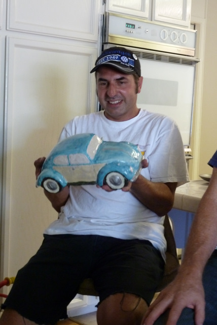 David was very happy to get his clay Volkswagen bug gift!