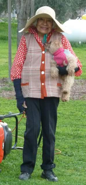 Closeup of Luisa and her dog Tinker.