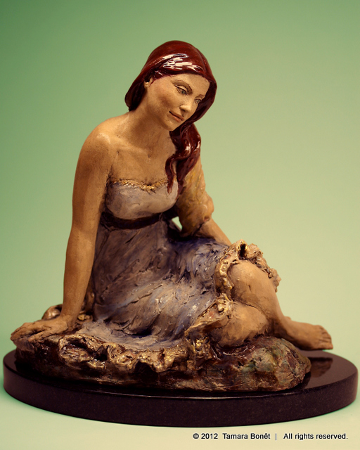 Dark Red Head Sculpture